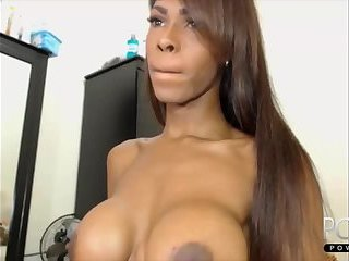 Big cock ebony big tits shemale