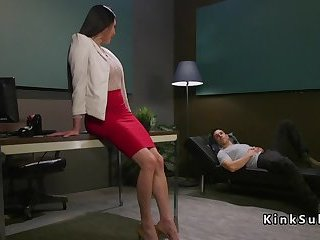 Tranny doctor bangs dude on the sofa