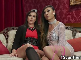 Busty oriental TS cums in babes mouth
