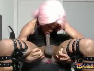 Self sucking ebony shemale online