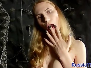 TS beauty drills her tight asshole