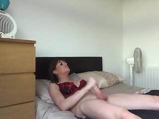 Big Tits Shemale Jerks her Huge Dick and Blasts her Spunk