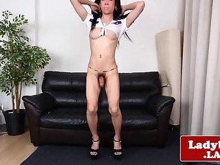 Inked ladyboy wanking her big hard cock