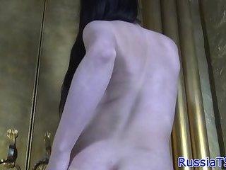 Mature russian tranny sprays her hot jizz
