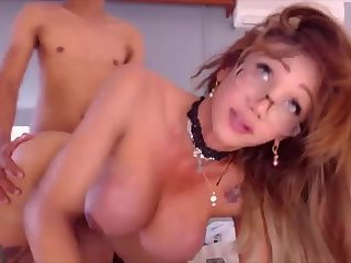 Fucking and touching cocks with Shemale MILF