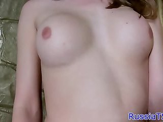 Russian trans beauty strokes her cock
