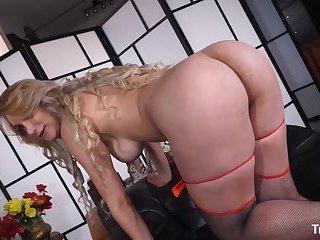 TRANS BELLA - Busty Brazilian tranny gets her holes stuffed