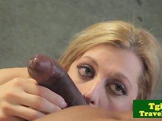 Busty tranny pornstar assfucked interracially