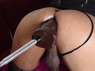 asian sissy girl on her first date with black thunder dildo