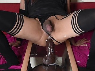 ladyboy riding bbc black thunder like a slut