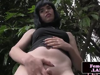 Solo femboy teases and plays with her cock