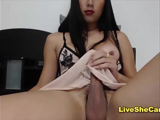 Ladyboy lingerie huge dick jerking