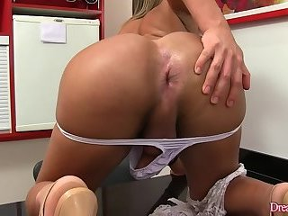 Tgirl Juliana Leal Wanks Her Stiff Cock and Crams a Big Dildo Up Her Ass