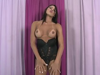 Latina Shemale in Black Lingerie Erika Lee Striptease and Masturbation