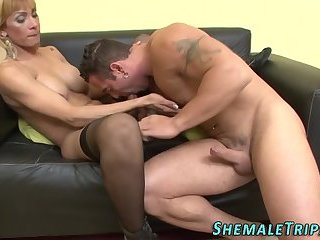 Hung shemale gets fucked