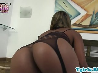 Gorgeous ebony tgirl masturbates in lingerie