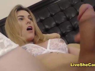 Blonde transgirl big dick cum on cam