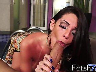 Gorgeous ts Grazi Cinturini blowing huge fat cock in POV