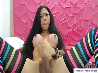 Latina tranny Danna Casta?eda strokes cock on cam