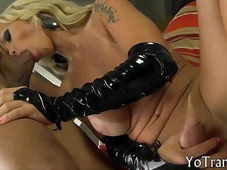 Busty blonde shemale anal banged by BBC