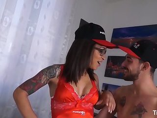 TRANS BELLA - Inked Latina tranny Luana Bazooka having fun with an Italian rod