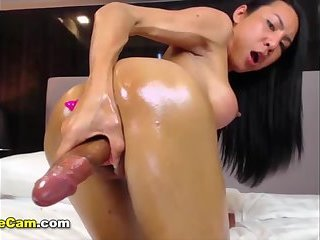 Ladyboy Thippy jerking and anal toying online