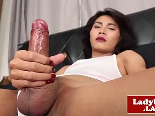 Real ladyboy jerking off until a warm finish