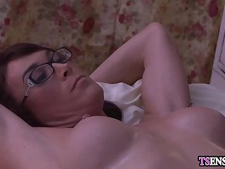 Horny busty shemales anal fuck each other after a massage