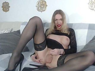 Busty russian shemale Eva Lynx black lingerie masturbation on webcam