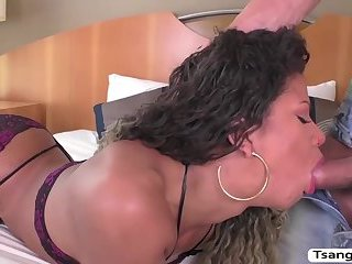 Tgirl Yanka gets her round ass penetrated by Alex huge cock