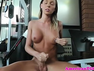 Busty trans babe jerking her big cock