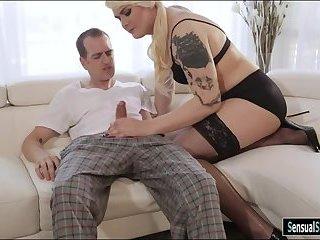 Tattooed blond shemale gets her anal screwed deep bareback