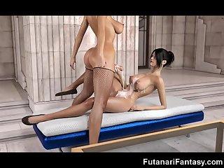3D Big Cock Futanari Babes Fuck Girls!