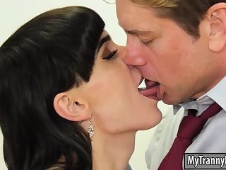 Sports announcer shemale Natalie Mars ass rammed by coworker