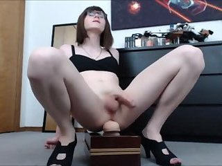 Glasses TGirl Orgasm with Toy