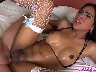 Busty ladyboy assfucked deeply
