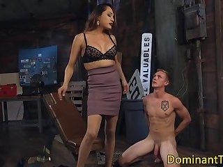 Footfetish ladyboy doggystyles her slave