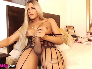 Blonde big ass big cock Shemale jerking Cam