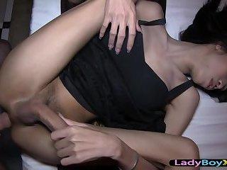 Long legs and high heels ladyboy gets bareback fucked