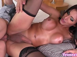 Busty amateur shemale anally fucked by her bf