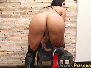 Busty shemale jerks her huge cock before being BBC fucked