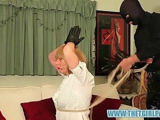 Master turns blonde TGirl slave Suzie into cock sucking cum slut after her ass punishment