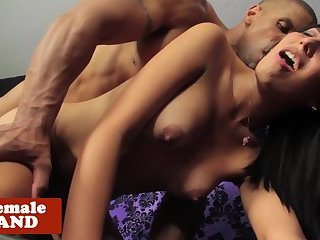 Trans beauty dominated by interracial hunk