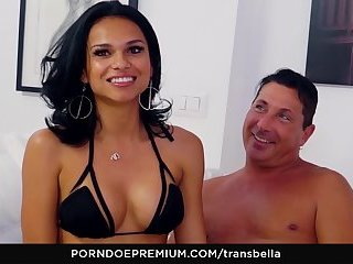 TRANS BELLA - Beautiful brunette Latina tranny fucks and gets fucked by Pierre D.j.