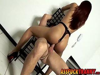 Big booty tranny Poax Zenehan swallows a big fat prick