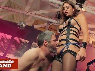Busty BDSM trans banging her slave