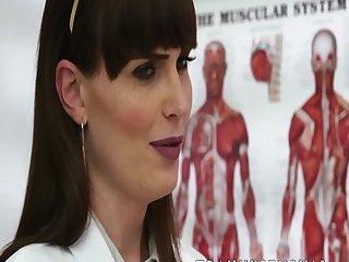 Stunning ts doctor Natalie Mars cock examines her patient