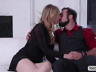 Hot Transgirl Mandy Mitchell bangs her stepson on the couch