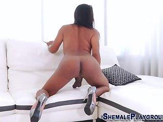 Hung tranny solo cumming