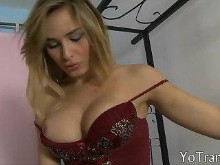 Stunning blonde shemale asshole smashed